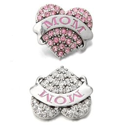 Noosa sNap jewelry online shopping - Noosa mm Snap Button Rhinestone Love MOM Heart Crystal Snaps DIY Ginger Snap Button Crystal Charms Bracelet Necklace Jewelry