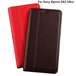 Sony Xperia Ultra Case Australia - Cow Split Genuine Leather Flip Cover For Sony Xperia XA2 Ultra Case Card Slot For Sony Xperia XA2 Ultra Phone Case Kickstand
