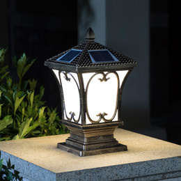 e27 housing NZ - New arrival solar power post lamps outdoor waterproof gold garden lights black housing landscape solar lights led post lighting fixtures