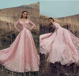 One shOulder quinceanera dresses online shopping - 2019 Arabic Pink Prom Dresses Lace Appliqued Off The Shoulder A Line Long Sleeve Evening Gowns Sweep Train Quinceanera Dresses