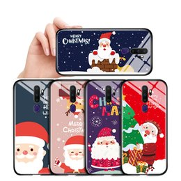 xmas iphone Canada - For OPPO A71 A77 A79 A83 A9 A5 2020 F3 Shockproof Santa Phone Case Xmas ELK Snowman Deer Tempered Glass Casing Protective Cover