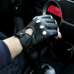 Leather Gloves For Driving Australia - FINEJO Women Mittens Female Punk Gloves Tactical Driving For Gloves Girls Locomotive Leather Fingerless Pu