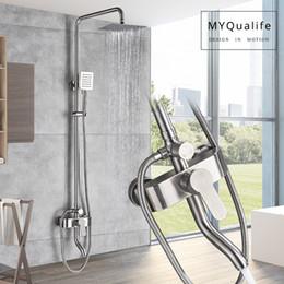 $enCountryForm.capitalKeyWord Australia - Brushed Nickel Shower Faucet Set Single Handle Swivel Bath Spout Rainfall Shower Mixers Stainless Steel Rain Shower Head 3-ways