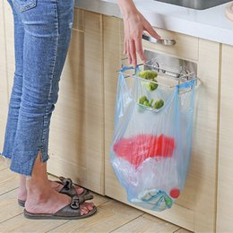 Wholesale Stainless Steel Trash Bag Holder For Kitchen Cabinets Doors And Cupboards Multifunction Drill Free Wall Cabinet Door Rack Hooks