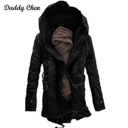 Parkas Green Australia - Men Parka Fashion winter warm coats male hooded Black green jacket casual thick cotton padded zipper closed jaqueta parkas 2018