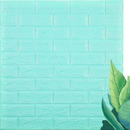 chinese sticker wall art Canada - 3D DIY Decor Home Brick Wall Stickers Living Room Waterproof Foam Room Adhesive Sticker Wallpaper Art Made Decals For Kitchen