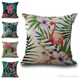 Chinese  Tropical Plant Flamingo Pillow Case Cushion cover Linen Cotton Throw Pillowcases sofa Bed Car Decorative Pillowcover drop ship 240530 manufacturers