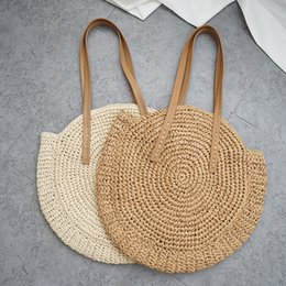 Wholesale Fashion Handmade Woven Beach Bag Vintage Travel Round Straw Shoulder Bag Circle Rattan bags Creative Vacation Casual Bags TTA557