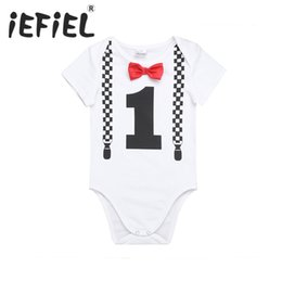 NewborN tutu size online shopping - Infant Baby Boys Short Sleeves ST First Bowknot Birthday Party Gentleman Romper Jumpsuit Newborn Clothes Size