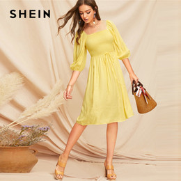 1ff9de7bfe Yellow Tie Waist Shirred Bodice Bishop Sleeve Smock Dress 2019 Summer Women  A Line Fit And Flare Elegant Dresses C19041001