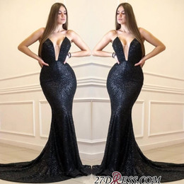 prom dress strapless black lace silk NZ - Abendkleider Black Mermaid Prom Dresses Long Cheap Sparkly Sequined Formal Evening Gowns Sexy See Through Bust Cocktail Party Ball Dress