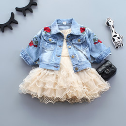 d586424799ee Infant Baby Girls Jeans Jacket Flower Embroidery Vintage Kids Denim Coat  For Girls Clothes Spring Autumn Children Outerwear Coat