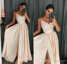 0086a656be7ac Blush Pink A Line Prom Dresses Spaghetti Straps Sleeveless Lace Applique  Splits Sweep Train Plus Size Formal Evening Wear Party Gowns