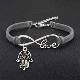 $enCountryForm.capitalKeyWord NZ - 2019 New Design Dark Gray Leather Suede Bracelets & Bangles For Women Men Trendy Simple Infinity Love Hamsa Fatima Hand Palm Jewelry Gifts