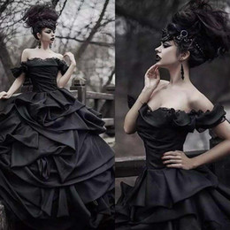 victorian gothic princess ball gown Australia - Tradition Black Gothic Wedding Dresses Victorian Punk Ball Gown Wedding Dresses Off The Shoulder Tie Up Satin Princess Bride Gowns