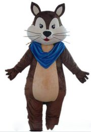 China 2019 Discount factory sale a brown adult squirrel mascot costume with a blue scarf for adult to wear suppliers