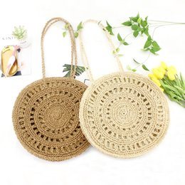 $enCountryForm.capitalKeyWord Australia - Woven Beach Shoulder Bag 2019 New Round Lady Handmade Knitted Woven Rattan Bags Straw Messenger Beach Bag Girl National Handbags