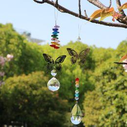 Wholesale 5PCS Handmade Butterfly Crystal Suncatcher Ball Prism Hanging Drop Pendant Feng Shui Decoration Rainbow Maker Gift WQM162s