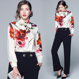 $enCountryForm.capitalKeyWord Australia - High Quality Scarf Bow Tie Neck Printed Shirts Spring Fall Runway Women's Long Sleeve Blouses Office Lady Business Elegant Slim Shirt Tops