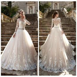 EuropEan modEls lacE drEss online shopping - Lace Appliques A Line Modest Wedding Dresses Customized Long Bridal Gowns European Fashion Vestidos De Marriage Customized