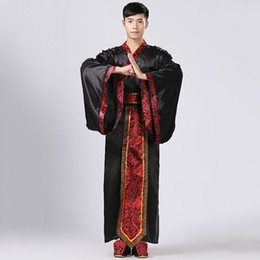 Wholesale hanfu costume resale online - GONGFU Ancient Costume Male Chinese Folk Dance Costume Adult Chinese National Stage Cospaly Tang Clothing Women Hanfu