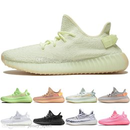 designer golf shoes UK - With Box 2019 Kanye West Clay V2 Static Reflective GID Glow In The Dark Mens Running Shoes Hyperspace True Form Men Sports Designer Sneakers