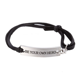 $enCountryForm.capitalKeyWord UK - GX105 High Quality Silver Plated Inspirational Quote Be Your Own Hero Charm Leather Bracelet for Women Fashion Jewelry