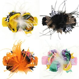 baby feather headdress NZ - Kids Halloween Bow Feather Headband Hair Clip Dual Use Handmade Bow Feather Barrettes Festival Baby Girls Headdress FFJ692