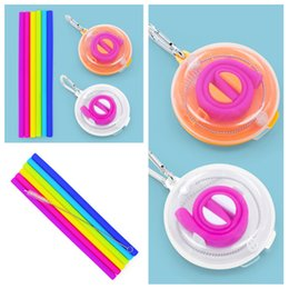 Keychain set online shopping - hot Reusable Silicone straw Drinking Straw Set Keychain Straw With Cleaning Brushes Box Straight Straws Juice Straws bar toolsT2I5532