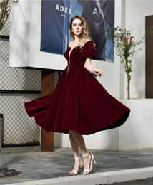 white velvet tea length dress Australia - Vintage Tea Length Burgundy Velvet Prom Dress Short Puff Sleeves Deep V Neck A Line 2020 Classic Evening Party Gown Customize
