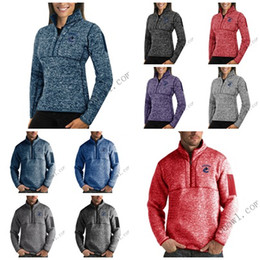 Full Zip Jacket Polyester NZ - Vancouver Canucks Antigua Mens Womens Fortune Half-Zip Sweater Pullover Jackets- Heather Navy Charcoal Purple Grey Royal