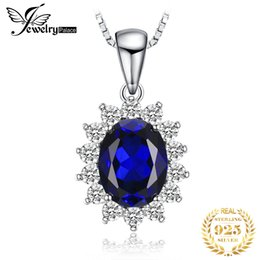 $enCountryForm.capitalKeyWord Australia - Jewelrypalace Created Blue Sapphire Princess Diana Crown Halo 925 Sterling Silver Pendant Necklace Women Jewelry Without A Chain MX190726