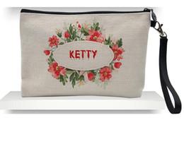 Ingrosso 50pcs 23cmx16cm sacchetti cosmetici in lino sublimazione donne fai-da-te in bianco con cerniera semplice borsa per trucco borsa frizione