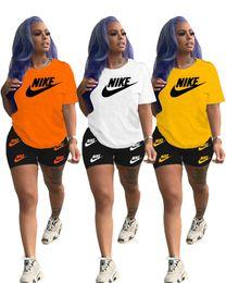 Wholesale golf outfit women for sale – designer Women Designer Brand Clothing Summer Piece Set Short Sleeve T Shirt Shorts Letter Sports Suit Crew Neck Outfits Fashion Jogging Suit