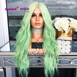 Long Hair Wave Style Australia - new arrival street style female wig long loose wave mint green color hair lace front wig light lace color wigs for woman