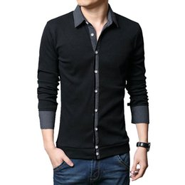 Fashion Men Clothes T Shirt Collar Australia - 2019 Autumn Winter Fashion Men Clothes Knitted T-shirt Mens All-match Shirt Collar T-shirt Thick T Shirt For Men Large Size 5xl