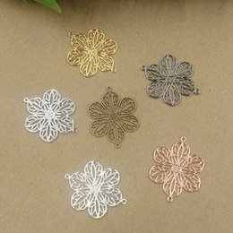 copper connectors NZ - JXMYLAI 100 PCS 20*26mm Metal Copper 7 Colors Plated Hollow Filigree Flowers Connectors Charm For Jewelry Making