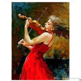framed painting portrait woman NZ - A. High Quality Handpainted & HD Print Impressionist Portrait Art Oil Painting Woman playing the violin On Canvas Wall Art Home Office Deco