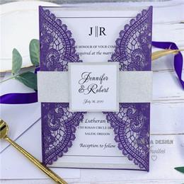 $enCountryForm.capitalKeyWord Australia - Luxury Pearl Purple Laser Cut Wedding Invitation With Glitter Silver Belly Band, Tag And Customized Insert