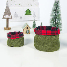 christmas tables NZ - Santa Claus Storage large&Small Size Basket Gift Christmas Candy Storage Bags Table Decoration Ornament