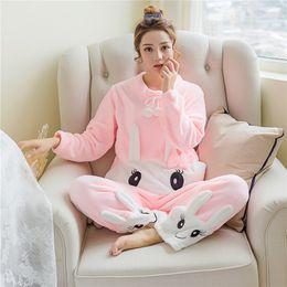 $enCountryForm.capitalKeyWord Australia - Autumn Winter Women Flannel Cartoon Rabbit Long Sleeve Pajama Set Home Clothes