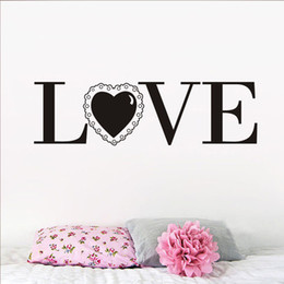 Love Wall Stickers For Bedrooms Australia - 1 Pcs Pvc Home Decor Wall Stickers Love With A Lace Romantic Letters Waterproof Vinyl Wall Art Quotes Decal For Bedroom Wedding Room