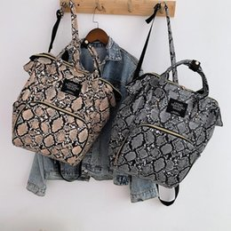 Discount diaper packing - Snake Print Mommy Travel Backpacks Large Capacity PU Leather Maternity Nappy Top-handle Bags Baby Care Nursing Diaper Pa
