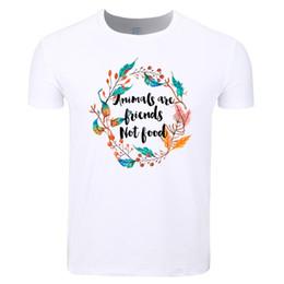 f9b66915a food shirts 2019 - Asian Size Men Women Print Vegan Vegetarian Animals Are Friends  Not Food