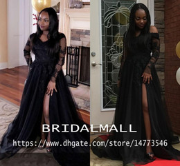 Long organza bridesmaid dresses online shopping - Simple V Neck Appliqued Lace African Prom Dresses Cheap Long Sleeve Formal Evening Gowns High Side Split Party Dress Celebrity Bridesmaid