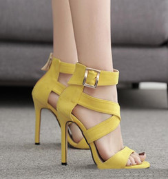 $enCountryForm.capitalKeyWord Canada - 2019 colorful gladiator sandals sexy cross strappy yellow purple heels synthetic suede women dress shoes size 35 to 40