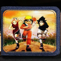 Naruto Coins Australia - Uzumaki Naruto wallet Haruno Sakura purse Uchiha Sasuke short cash note case Money notecase Leather jean burse bag Card holders