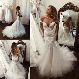 ddaa9062e23 Classy Mermaid Lace Wedding Dresses Off The Shoulder Beaded Plus Size Bridal  Gowns Court Train Tulle Trumpet Vestido De Novia