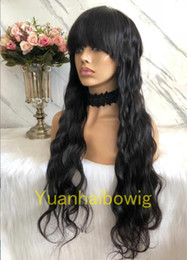 Root Color Wig Australia - Natural Color Glueless Front Closure Wig with Bang European Hair Ombre #1b 4 Dark Roots Glueless Full Lace Wig with Bang Free Shipping