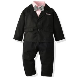 $enCountryForm.capitalKeyWord Australia - Baby Boys Weddings Costume Autumn Children Clothes Set Boys Clothing Jacket+T-shirt+pants set kids Fashion gentleman Suit